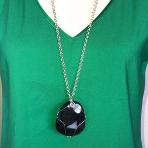 """Jewelry - 🆕 Black Crystal Medallion on 32"""" Long Necklace"""